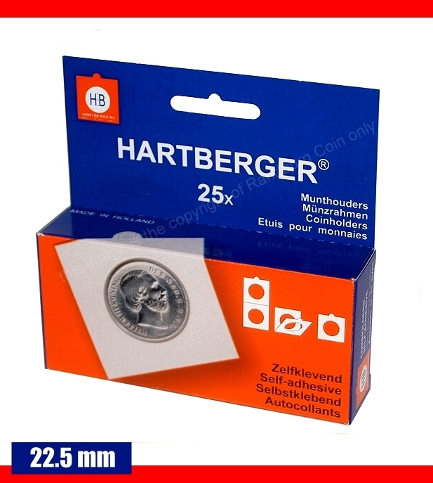 Hartberger self adhesive coin holders Box of 25 pieces size 22.5mm a