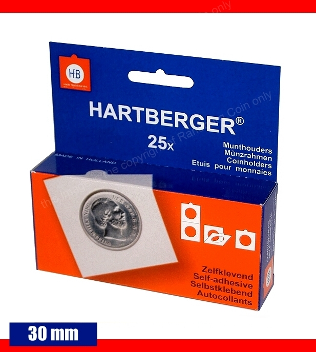 Hartberger self adhesive coin holders Box of 25 pieces size 30mm a
