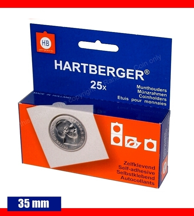 Hartberger self adhesive coin holders Box of 25 pieces size 35mm a
