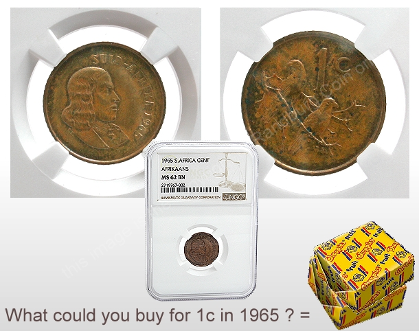 1965 South African Afrikaans 1 Cent