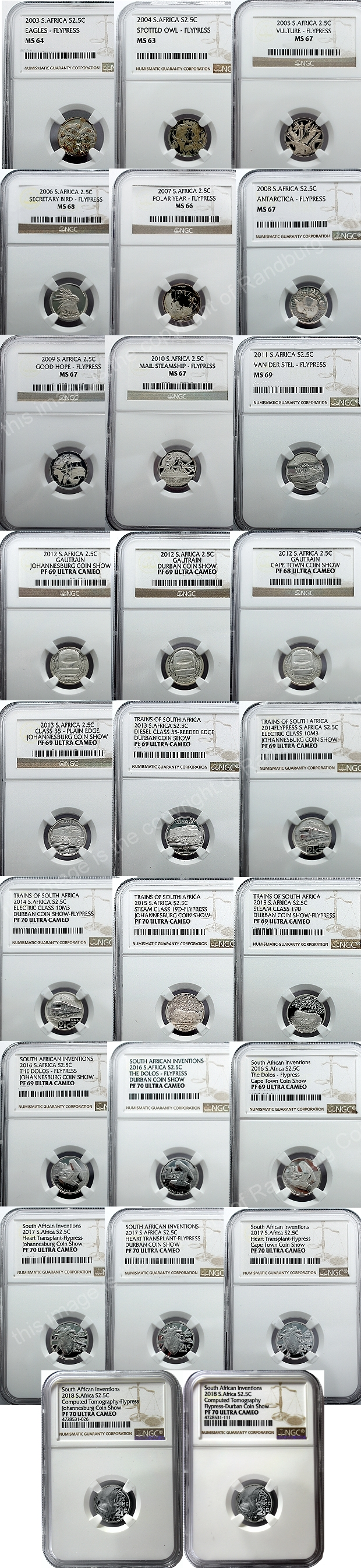 2003 to 2018 Flypress Tickey Silver Proof set