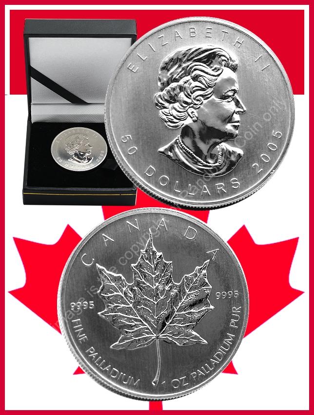 2005 Palladium 1 oz Canadian Maple Leaf Dollar