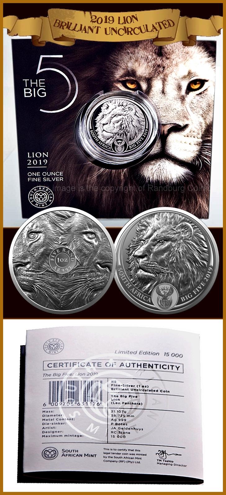 2019 R5 1oz Fine Silver Brilliant Uncirculated Big Five Lion