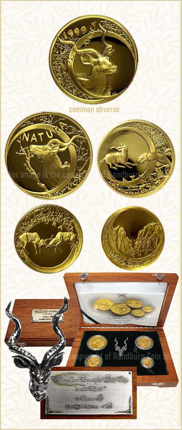 1999 Gold Kudu Natura The Most Beautiful Gold Coin Special Set 1 oz Half Quarter oz Tenth oz