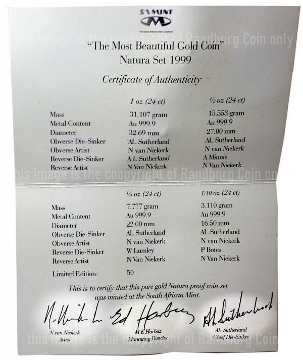 1999 Gold Kudu Natura The Most Beautiful Gold Coin Special Set Cert