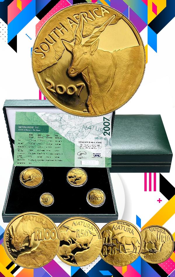 2007 Gold 1oz Half Quarter Tenth oz Eland Giants of Africa Natura 4 Coin Proof Set