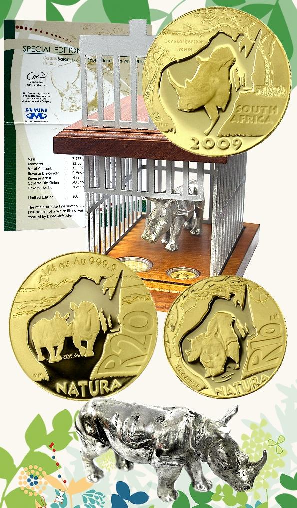 2009 Gold Quarter and Tenth oz Special Edition Natura White Rhino Set