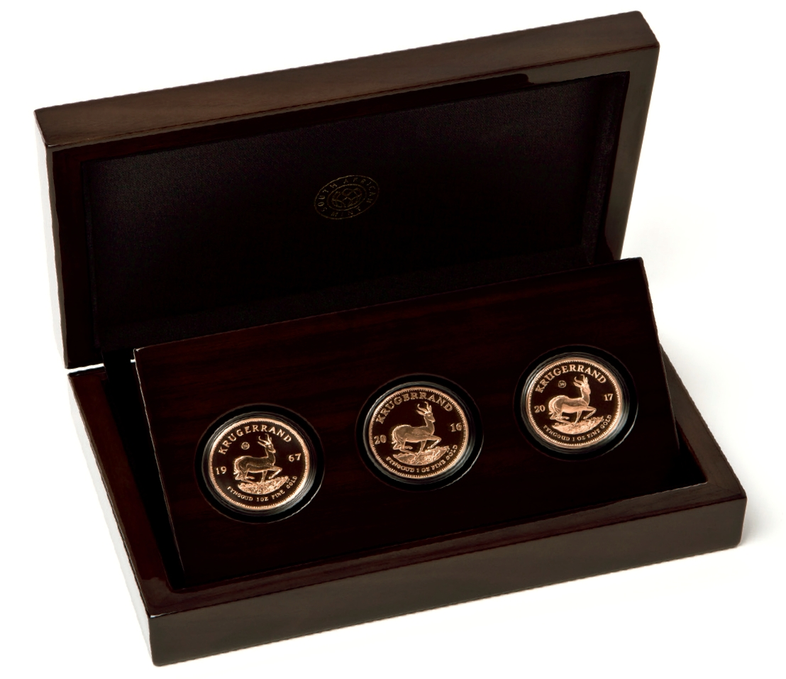 2017 Proof 1oz Gold Krugerrand 3 Coin Vintage Set