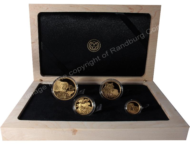 2016 Gold Big Cats Initiative Cheetah 4 coin Nat Geo Set box open