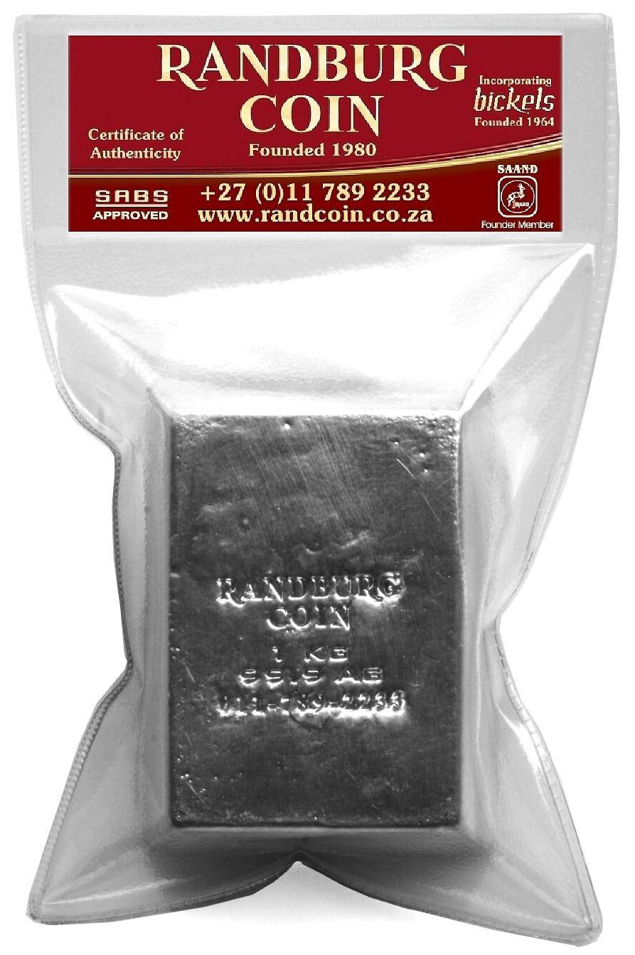 2015 Randburg Coin 1Kg Fine Silver Bar Product