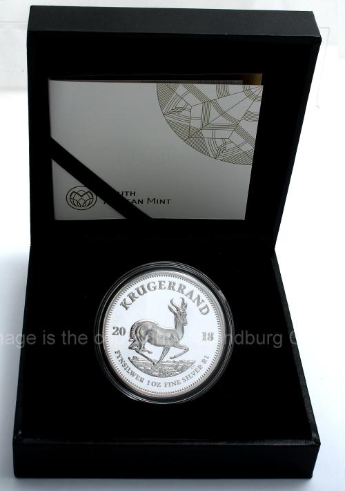 2018 1oz Fine Silver Proof Krugerrand open box rev