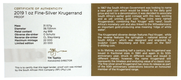 2019 Silver Proof Krugerrand cert rev