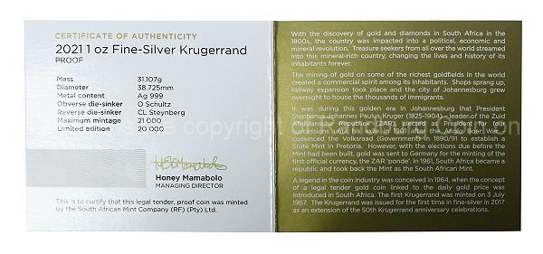 2021 1oz Fine Silver Proof Krugerrand cert rev