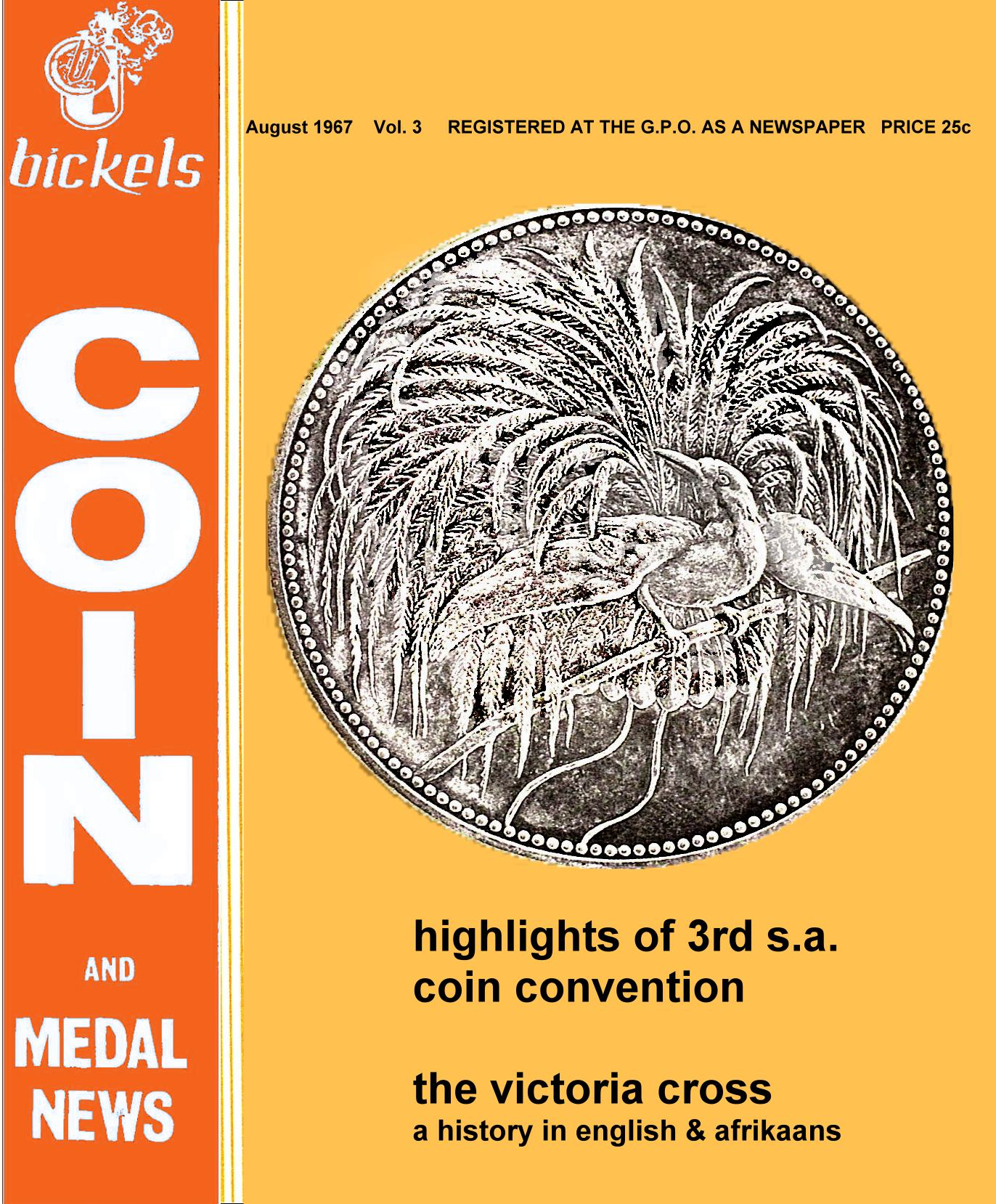 Bickels Coin & Medal News August 1967 Vol 3 No 2