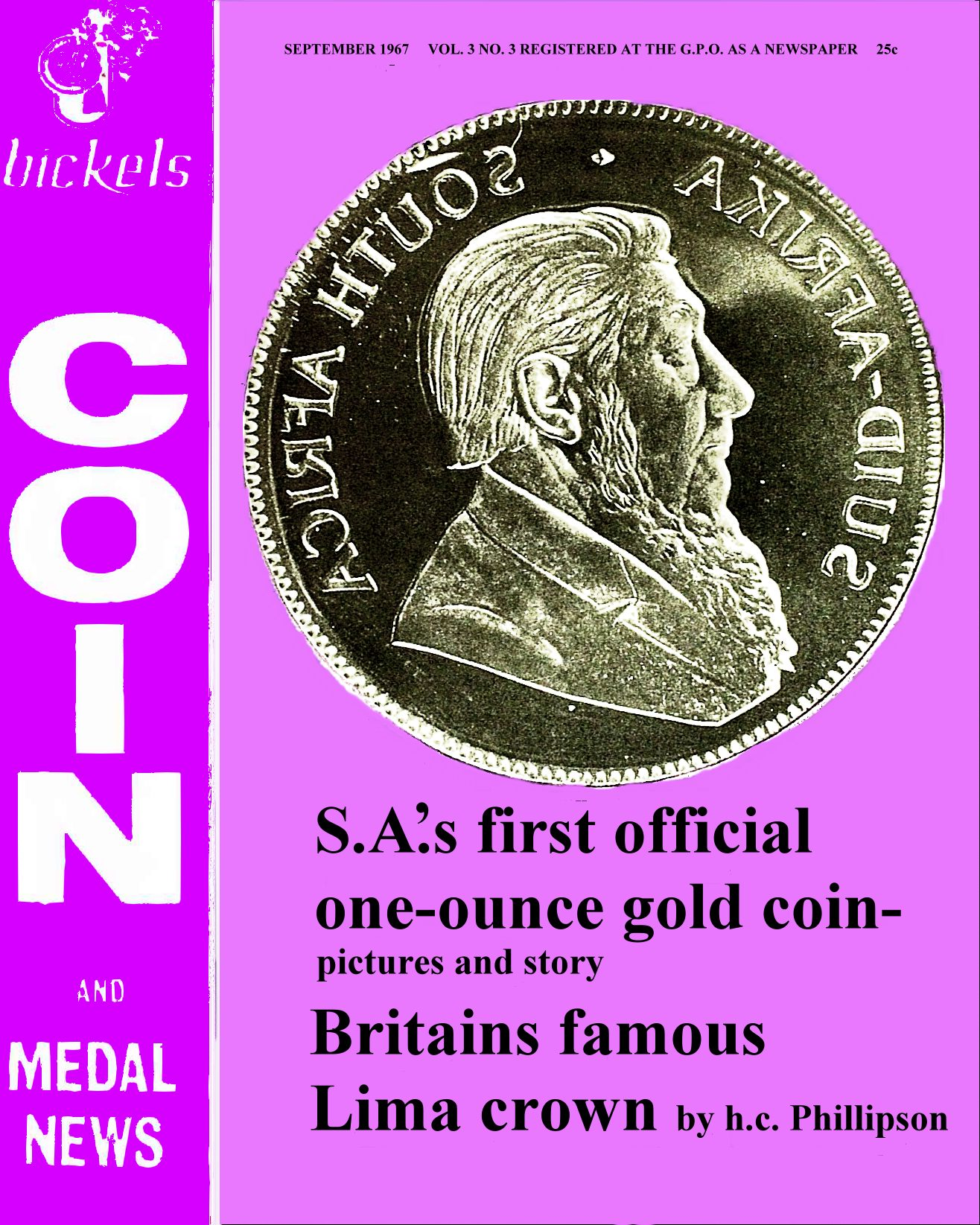 Bickels Coin & Medal News September 1967 Vol 3 No 3