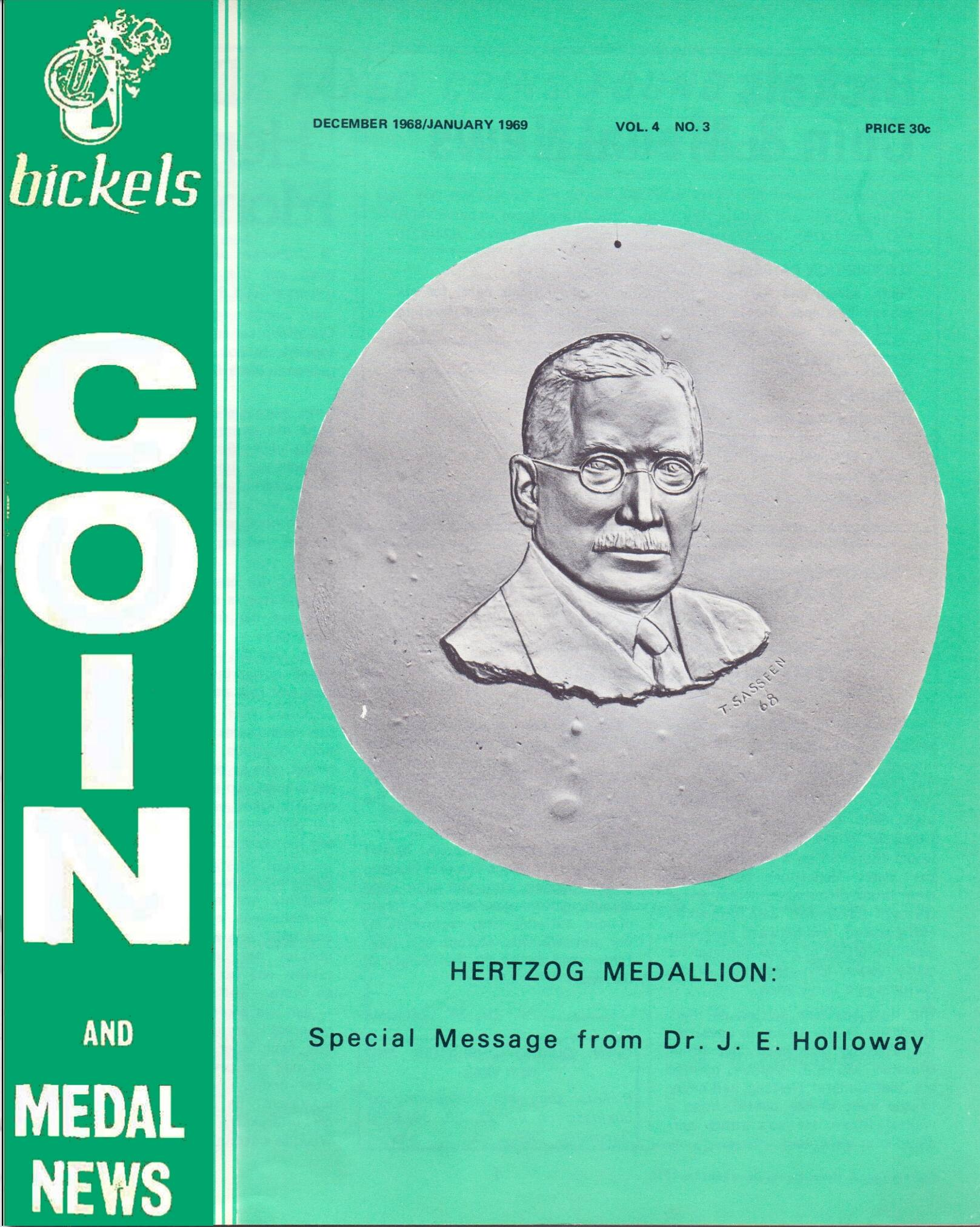 Bickels Coin & Medal News December 1968 January 1969 Vol 4 No 3