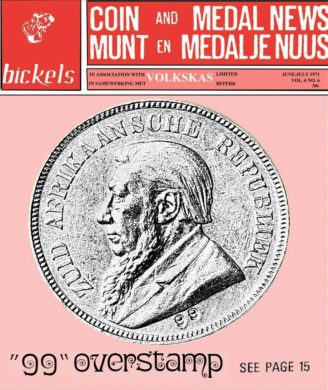 Bickels Coin & Medal News June July 1971 Vol 6 No 6