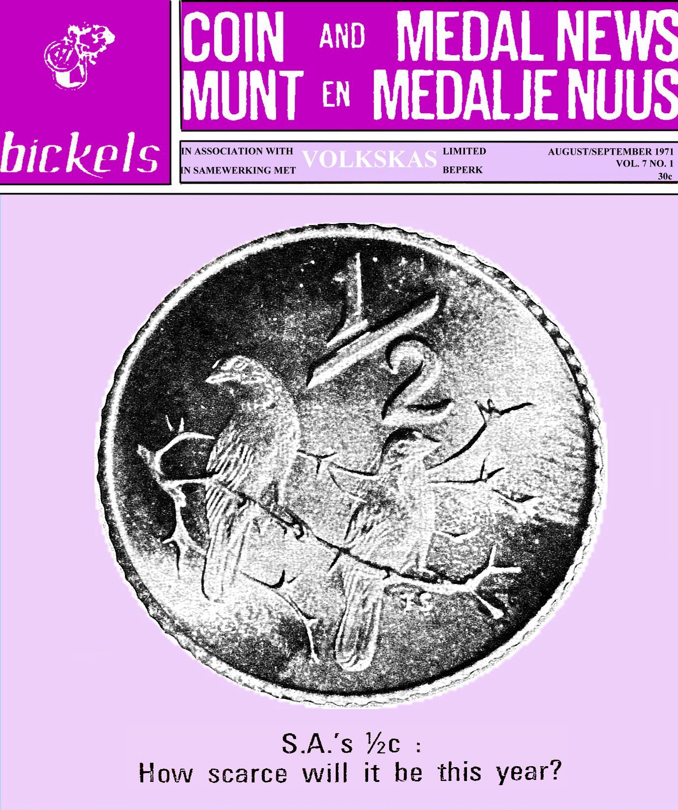 Bickels Coin & Medal News August September 1971 Vol 7 No 1