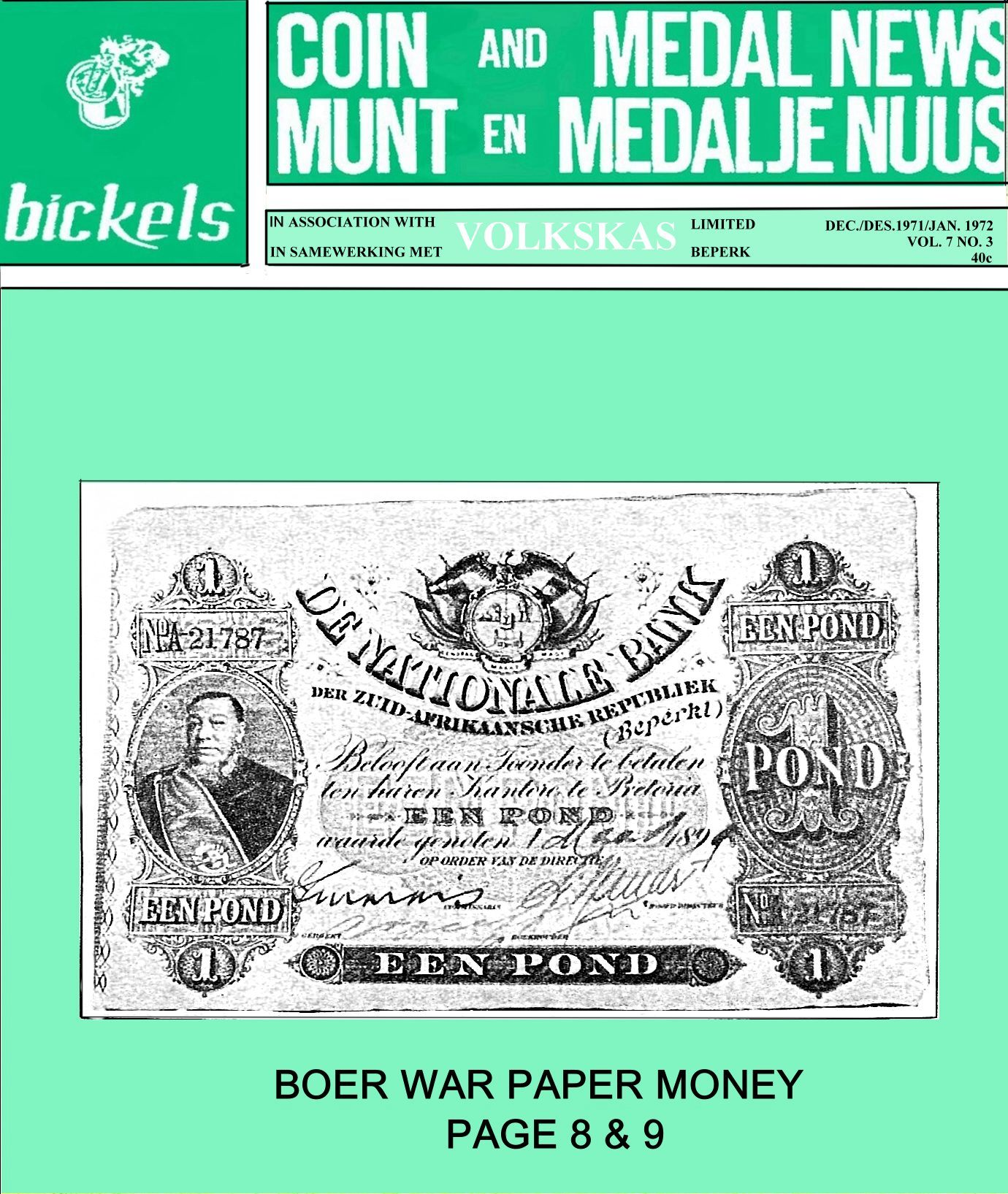 Bickels Coin & Medal News December 1971 January 1972 Vol 7 No 3