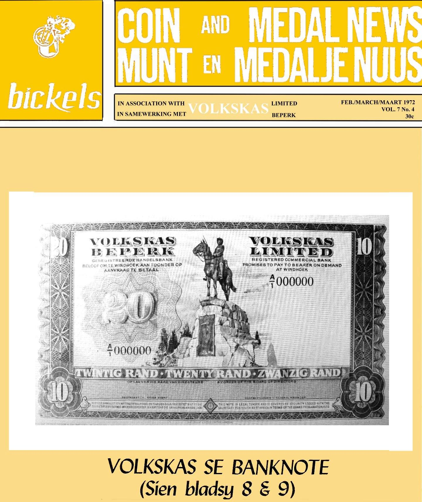 Bickels Coin & Medal News February March 1972 Vol 7 No 4