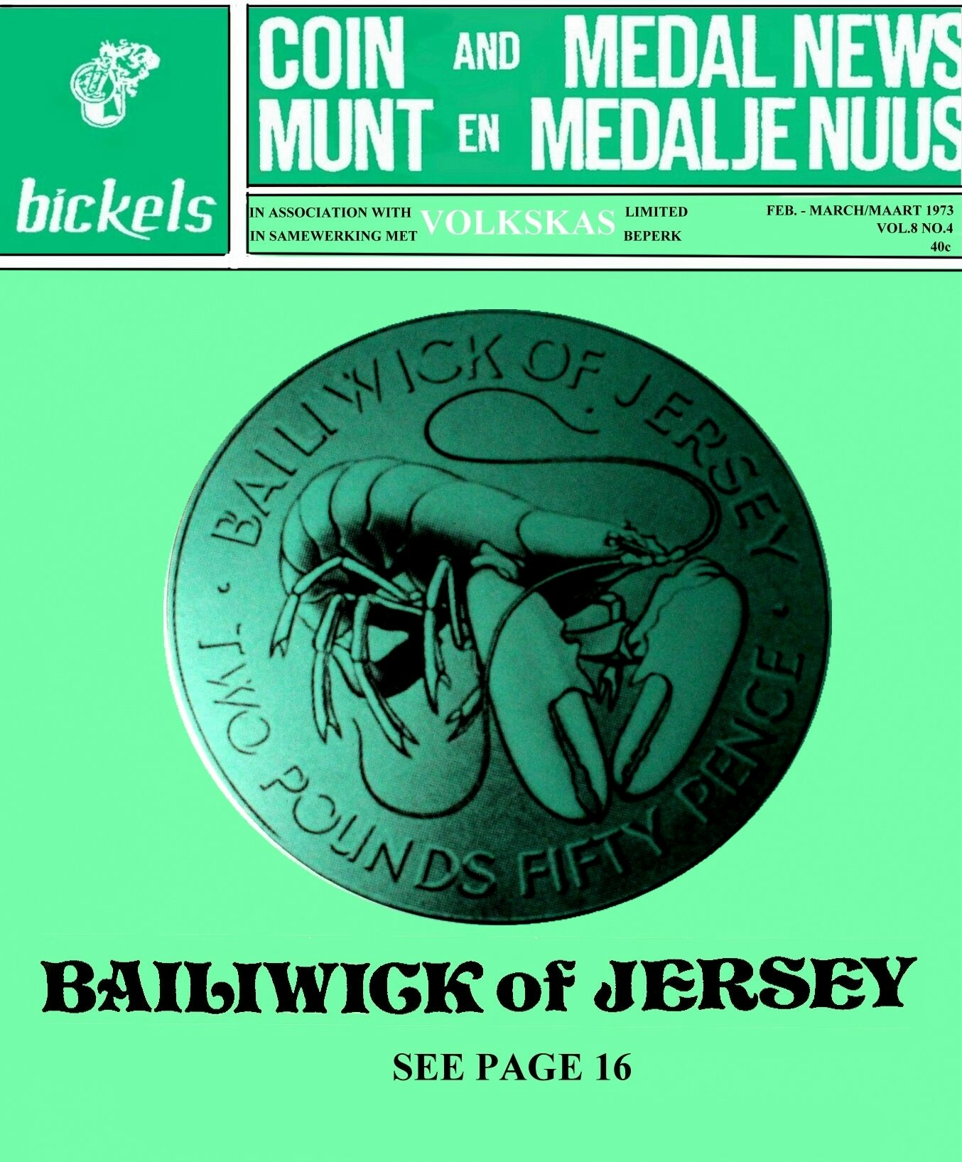 Bickels Coin & Medal News February March 1973 Vol 8 No 4