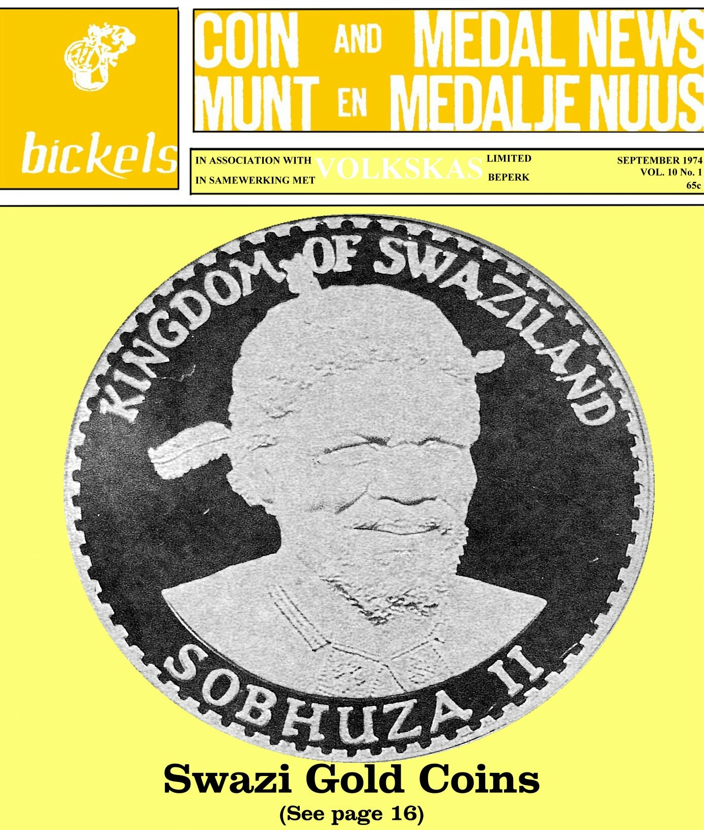 Bickels Coin & Medal News September 1974 Vol 10 No 1
