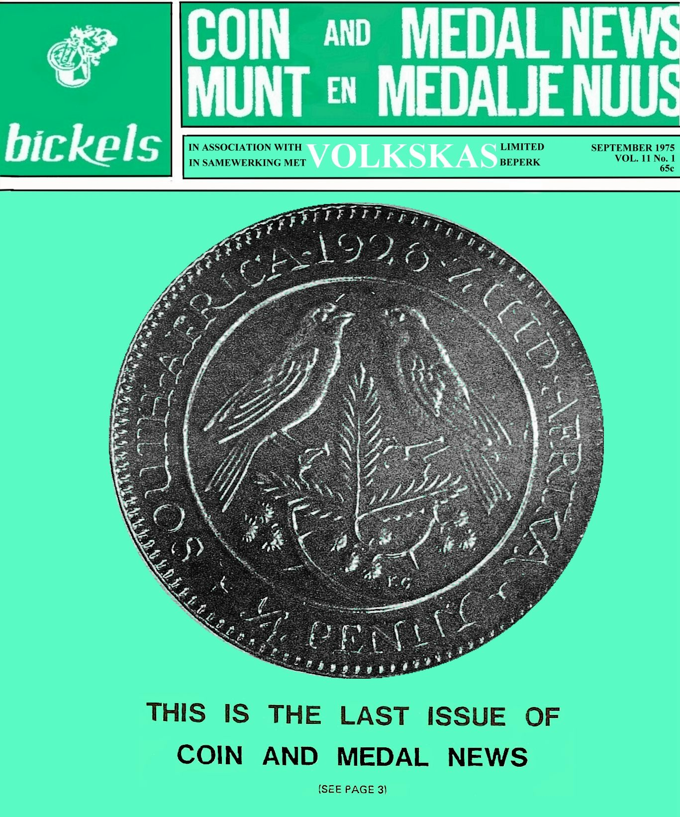 Bickels Coin & Medal News September 1975 Vol 11 No 1
