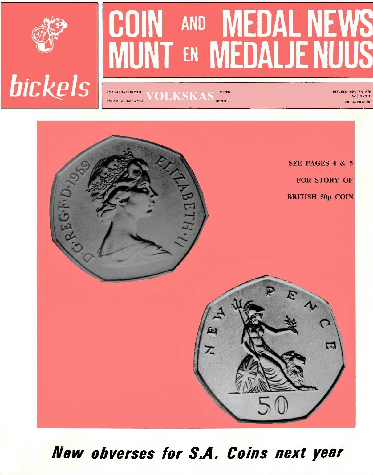 Bickels Coin & Medal News December 1969 January 1970 Vol 5 No 3