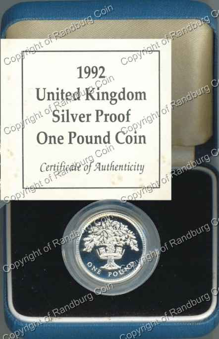 Great Britain 1992 Proof Silver 1 Pound Coin