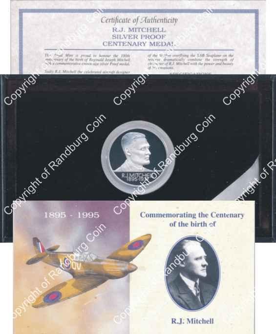 1995 Aircraft Designer RJ Mitchell Centenary Silver Medallion