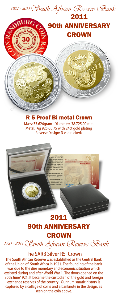 2011_R5_Proof_Bi_colour_Coin_90th_Anniversary_South_African_Reserve_Bank