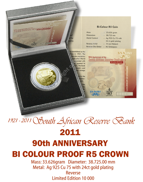 2011_R5_Proof_Bi_colour_Coin_90th_Anniversary_South_African_Reserve_Bank_open_box_rev