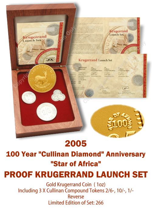 2005_Krugerrand_Launch_Mintmarked_Set_Proof_1_oz_plus_Tokens_Star_of_Africa_open_box_rev