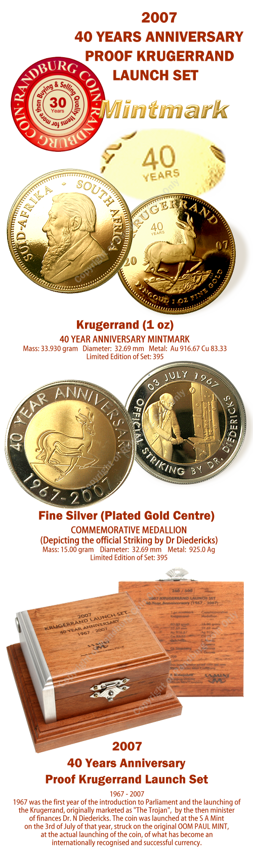 2007_Proof_1_oz_Krugerrand_plus_Bi_Metal_Medallion_40Yr_Launch_Set_mintmark_coins