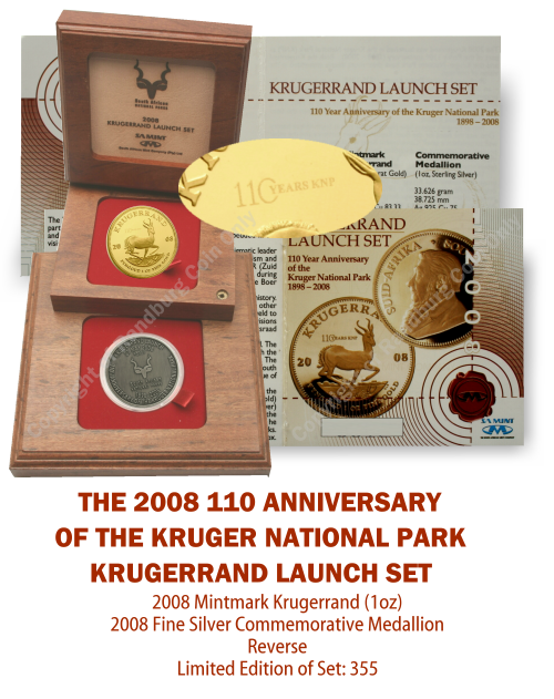 2008_Proof_1_oz_KR_plus_Silver_Medallion_110Yr_Kruger_National_Park_Launch_Set_mintmark_open_box_rev