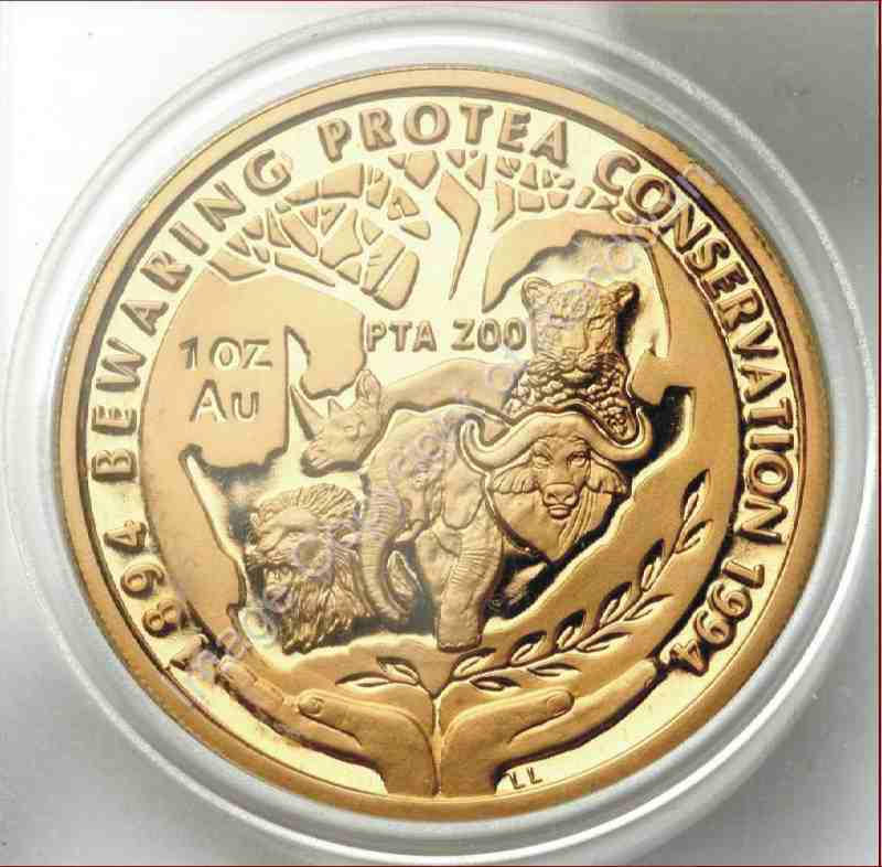 Slabbed Gold Proof Protea 1oz Conservation With Pta Zoo
