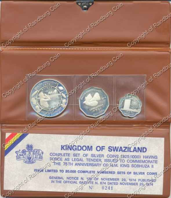 Swaziland Silver 3 Coin Proof Set