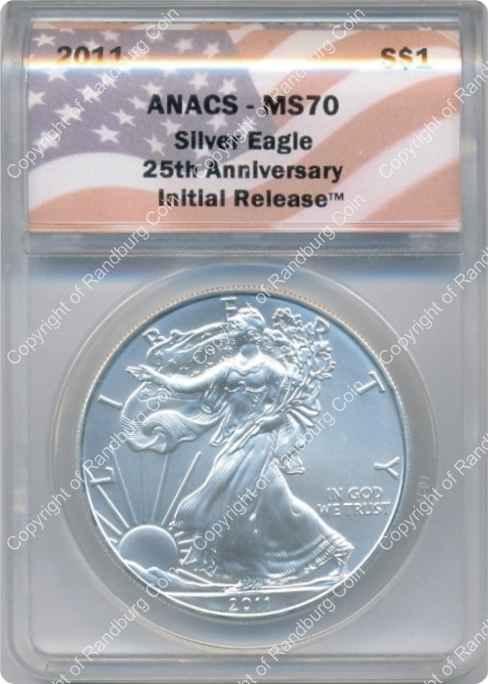 Usa 2011 Silver Eagle Dollar 25th Anniversary Ms70 Anacs